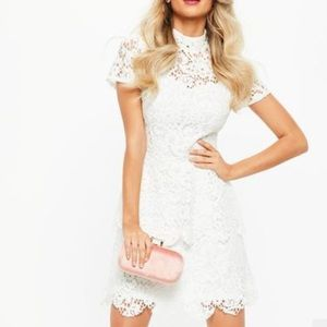 Missguided Tall White Short Layered Lace Dress